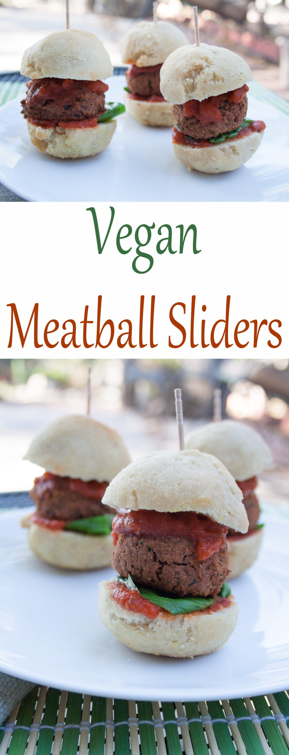Vegan Meatball Sliders collage photo with text in the middle.