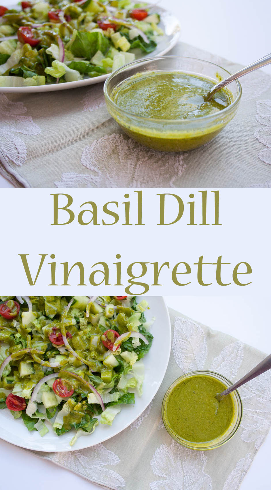 Basil Dill Vinaigrette (vegan, gluten free) This addictive vegan salad dressing has fresh garden herbs, Dijon mustard, agave syrup, cheesy nutritional yeast, red wine vinegar, and extra virgin olive oil.