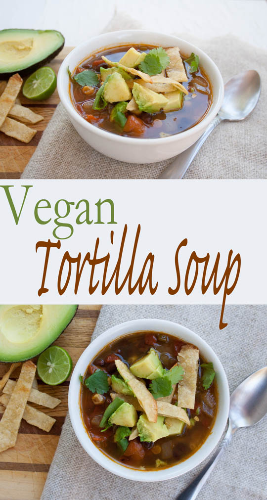 Vegan Tortilla Soup (gluten free) - Here is an easy comforting soup recipe that is perfect for curling up with on cold Fall and Winter days.