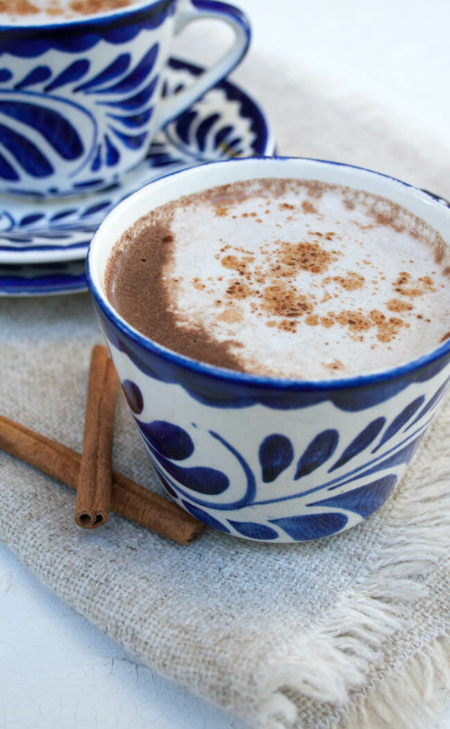Vegan Mexican Hot Chocolate close up vertical.