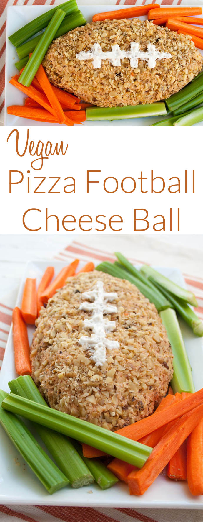 Vegan Pizza Football Cheese Ball (gluten free) - This recipe will be the hit of your Super Bowl party! It is easy to make, and sure to impress!