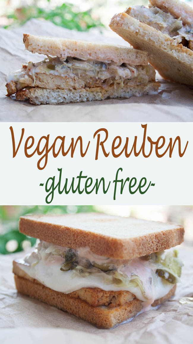 Vegan Reuben Sandwich (gluten free)- This rich savory sandwich is filled with gooey vegan Swiss, tofu bacon, and the best sauerkraut that I have ever had.