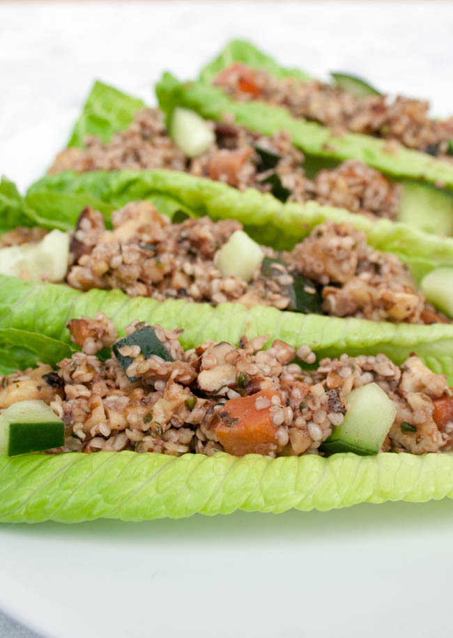 Ginger Sesame Walnut and Hemp Seed Lettuce Wraps (vegan, gluten free) - These lettuce wraps are sweet and savory. They are extremely easy to make, and are ready in minutes.