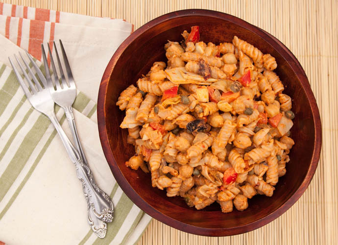 Red Pepper and Artichoke Pasta Salad birds eye view.