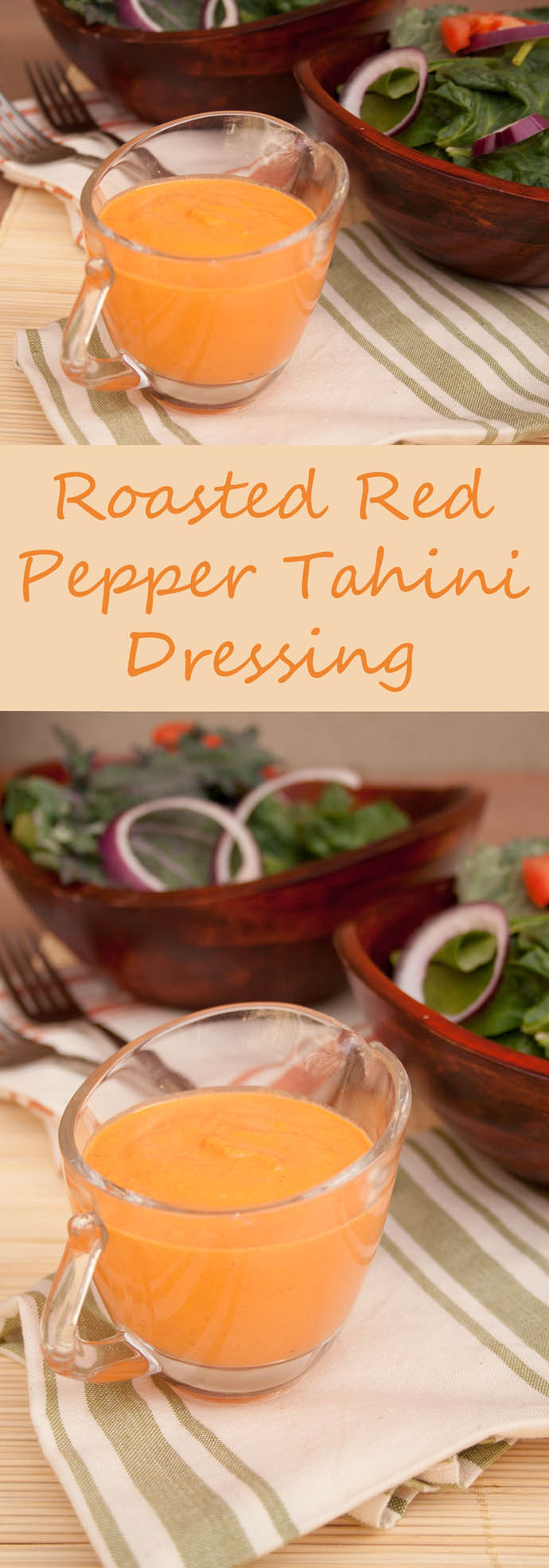 Roasted Red Pepper Tahini Dressing (vegan, gluten free) - This sweet and savory dressing is really versatile. Besides salads, use it as a dipping sauce or sandwich spread.