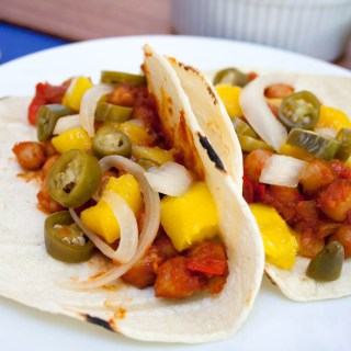 BBQ Chickpea and Mango Tacos with Pickled Peppers and Onions