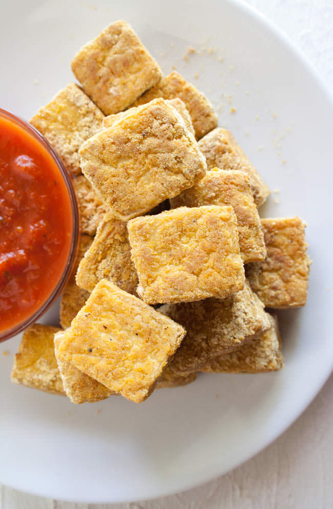 Baked Tofu Nuggets (vegan, gluten free) - These healthy baked nuggets are crispy on the outside and soft on the inside. They are sure to please even the pickiest eaters!