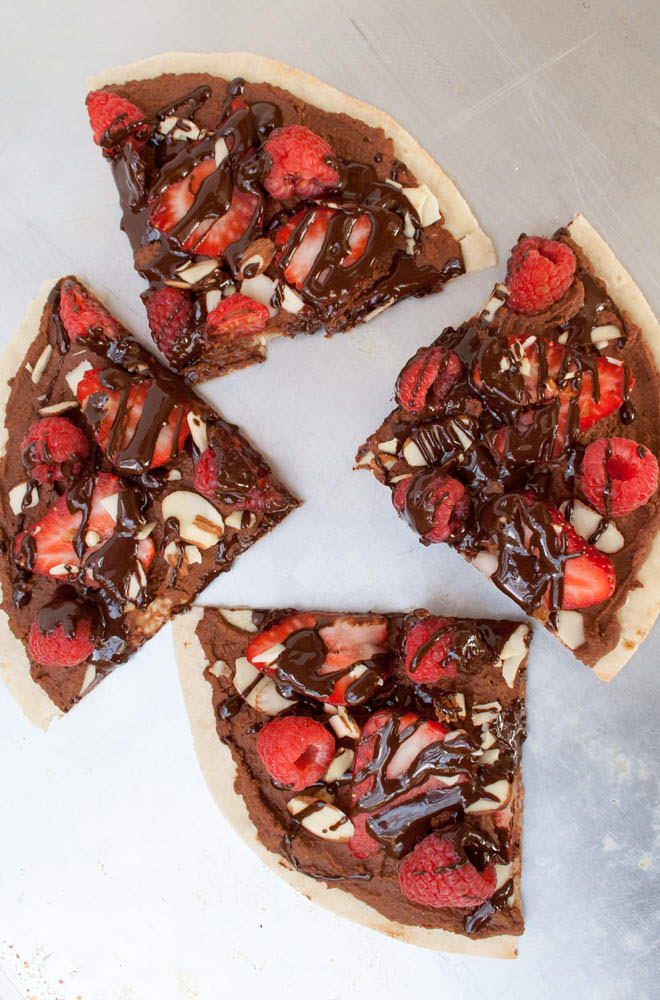 Berry and Chocolate Hummus Dessert Pizza (vegan, gluten free) - This healthy dessert pizza is sweet and tart. Made with a brown rice tortilla, it can be done in minutes!