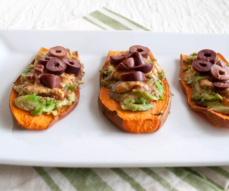 Black Olive and Avocado Sweet Potato Toast with Chipotle Crema with three side by side.