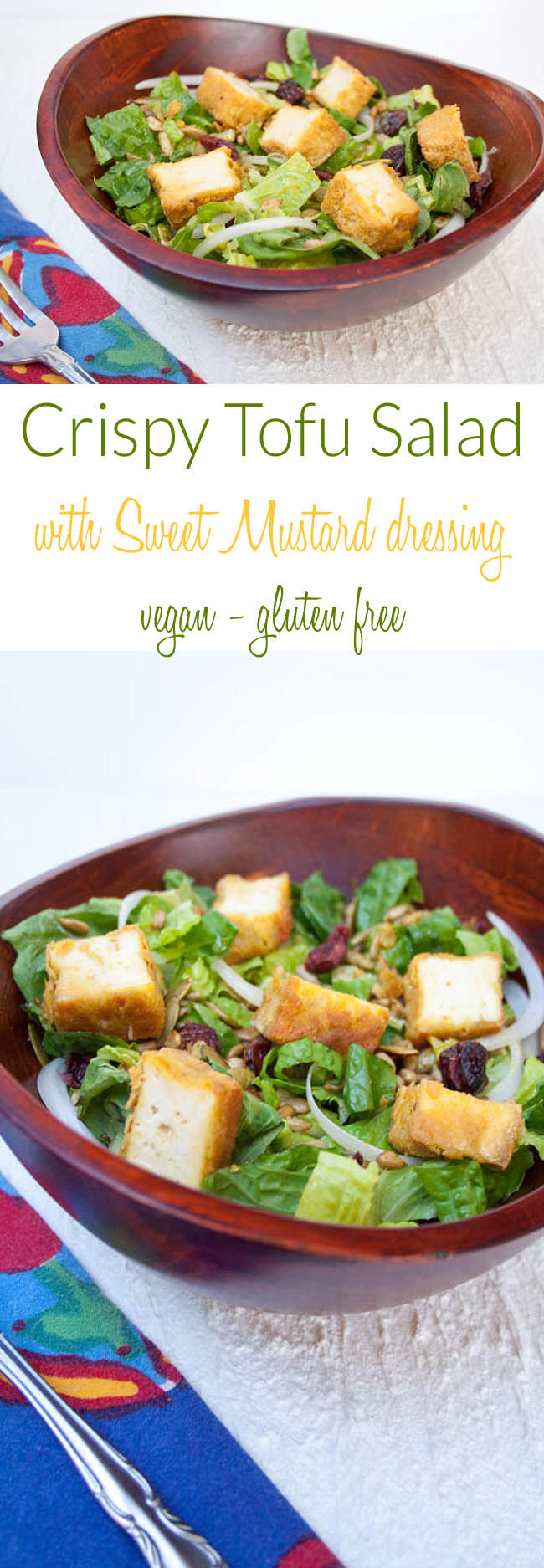 Crispy Tofu Salad with Sweet Mustard Dressing collage photo with text in the middle.
