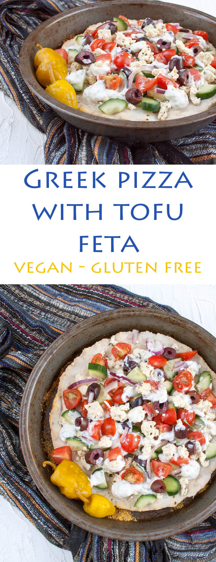 Greek Pizza with Tofu Feta (vegan, gluten free) - This healthy pizza is a great way to switch up pizza night! Made with tofu feta and vegan tzatziki, it is sure to please!