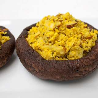 Stuffed Portobello Mushrooms with Hemp Seed Cauliflower Rice Pilaf