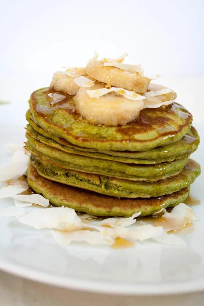 Matcha Banana Pancakes close up.