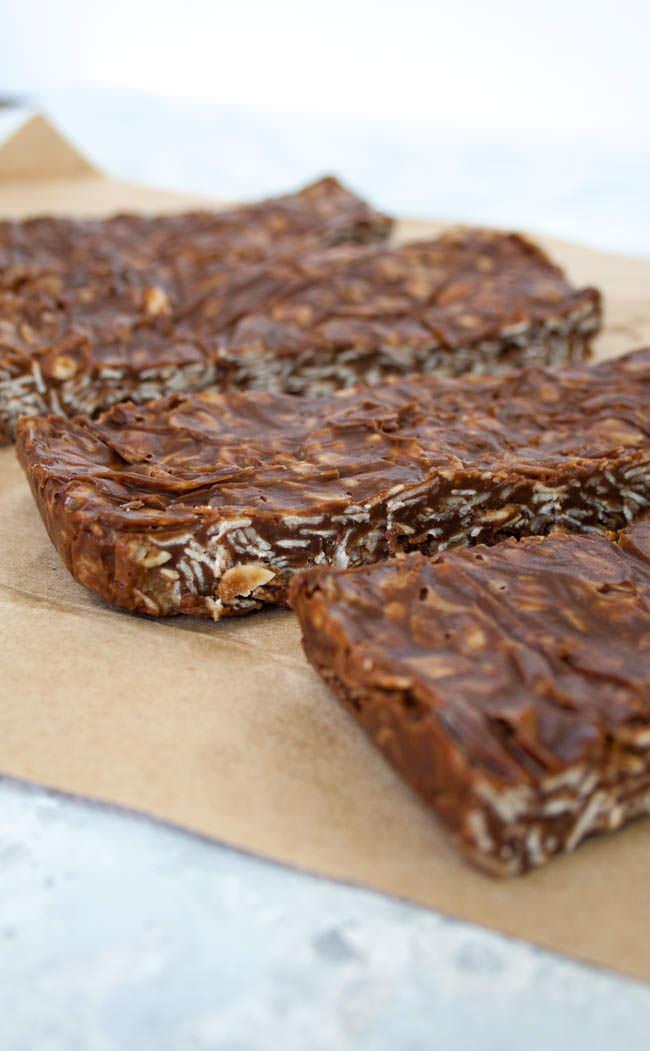 Vegan Chocolate Peanut Butter Granola Bars vertical close up.