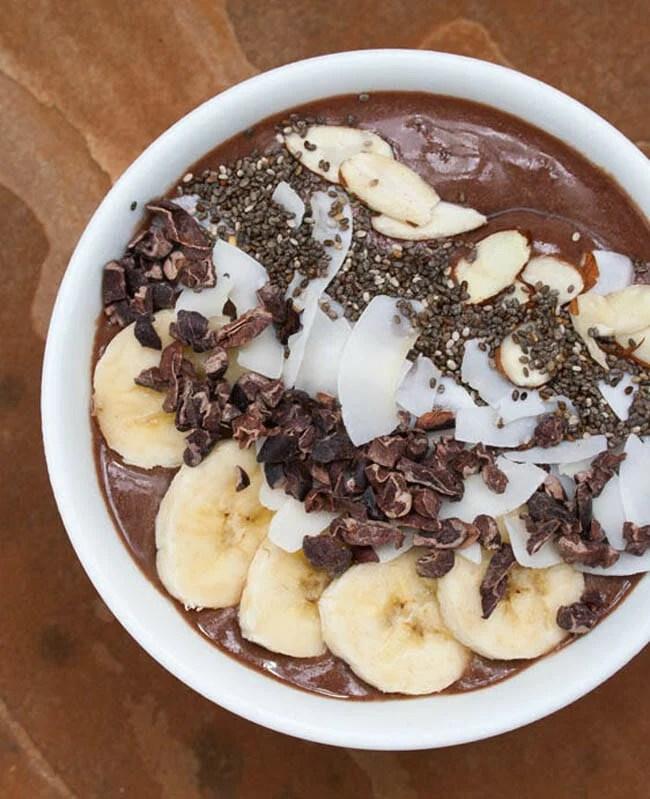 Cacao Acai Bowl vertical close up.