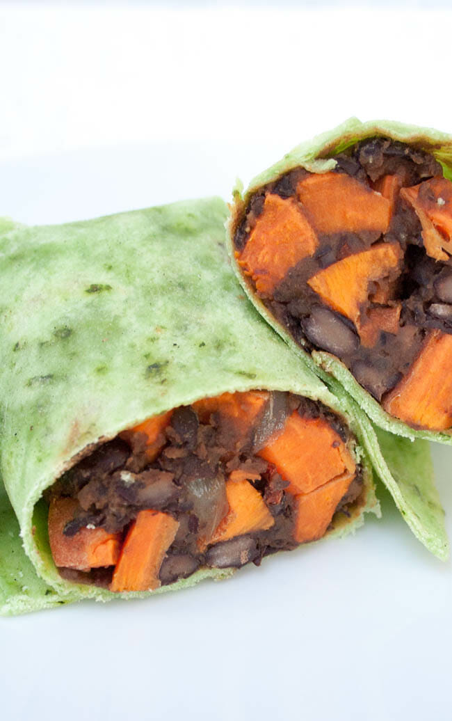 Sweet Potato and Maple Chipotle Black Bean Burritos vertical close up.