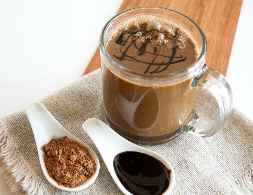 Vegan Molasses Hot Cocoa close up.