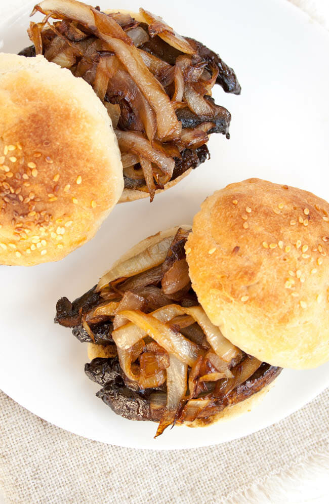 Portobello Mushroom and Caramelized Onion Sliders open faced birds eye view