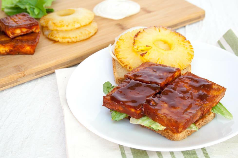 Baked BBQ Tofu Sandwich open faced