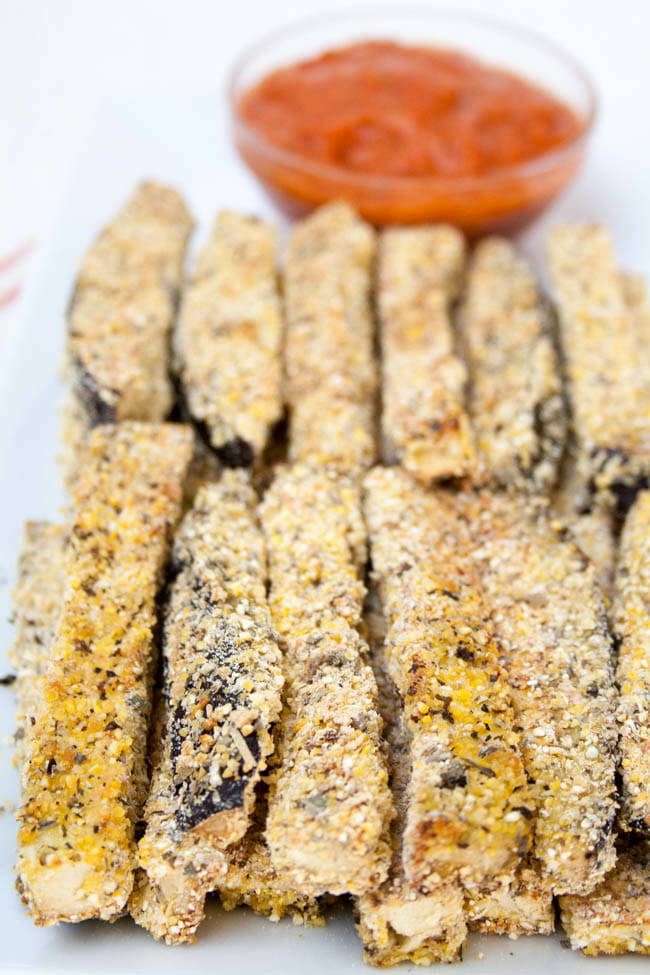Baked Eggplant Fries close up.