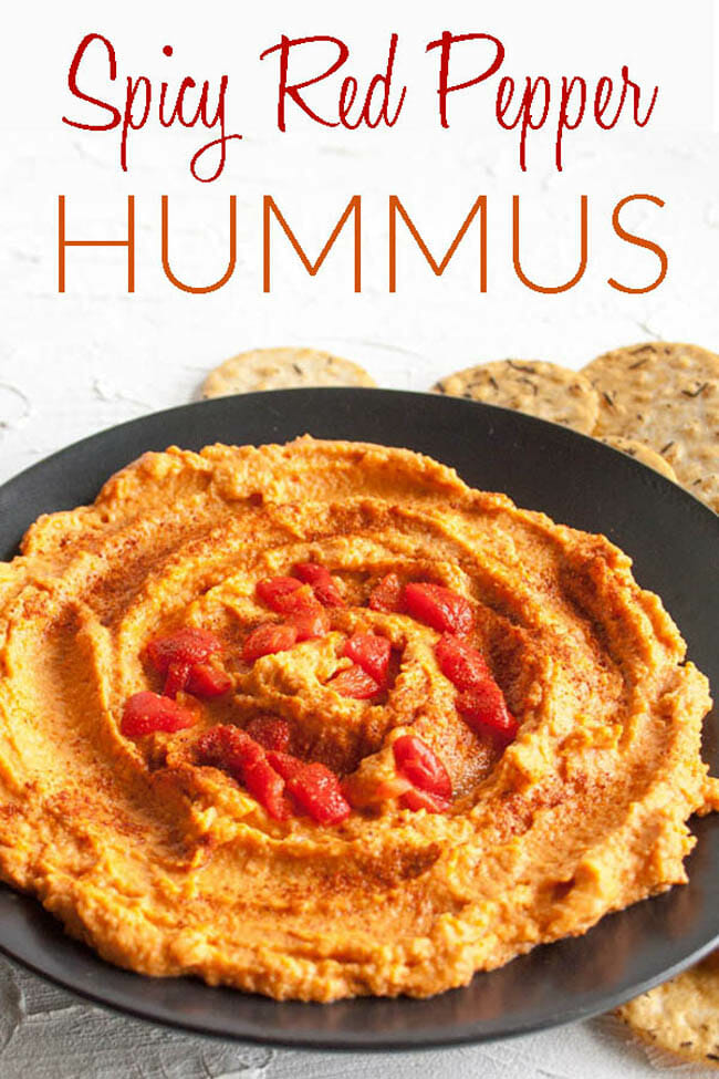 Spicy Red Pepper Hummus photo with text.