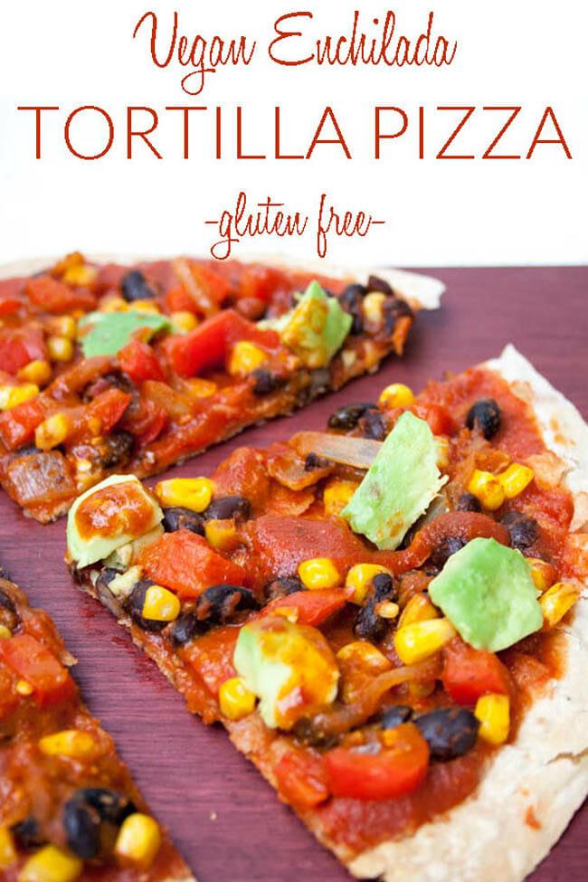 Vegan Enchilada Tortilla Pizza photo with text.