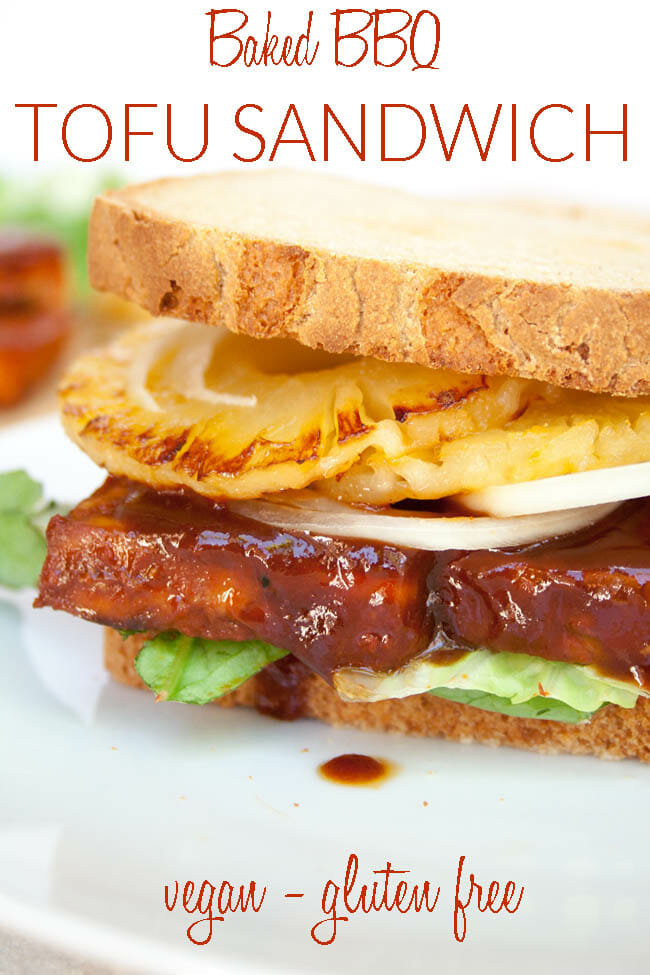 Baked BBQ Tofu Sandwich photo with text