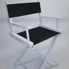 Directors Chair White Wood High For Baby Embroidered Table Height Frame Chairs 18