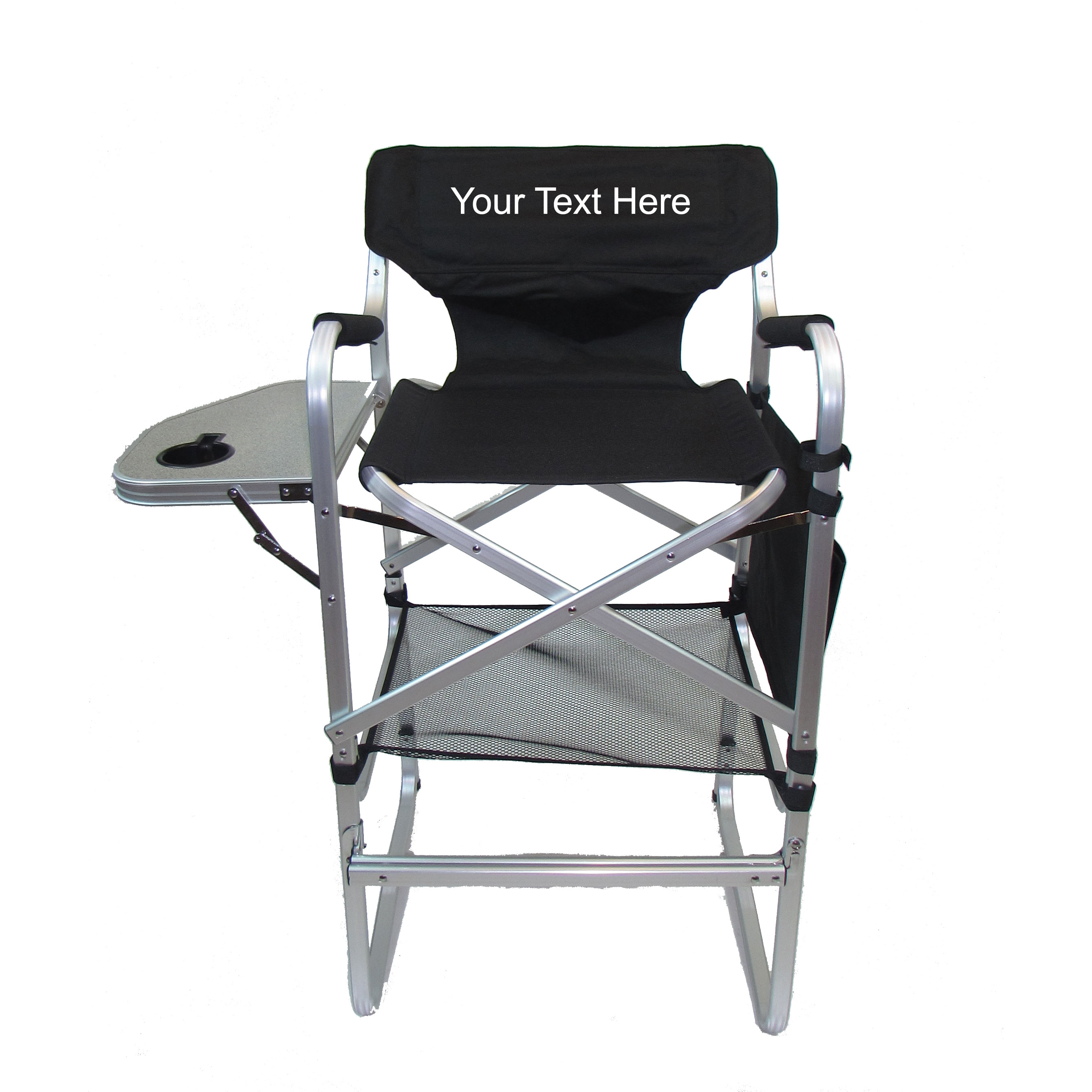 tall directors chair with side table white wood folding chairs bulk imprinted aluminum bar height