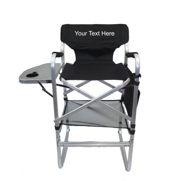 Imprinted Aluminum Bar Height Directors Chair With Table & Side Bag Custom Designer