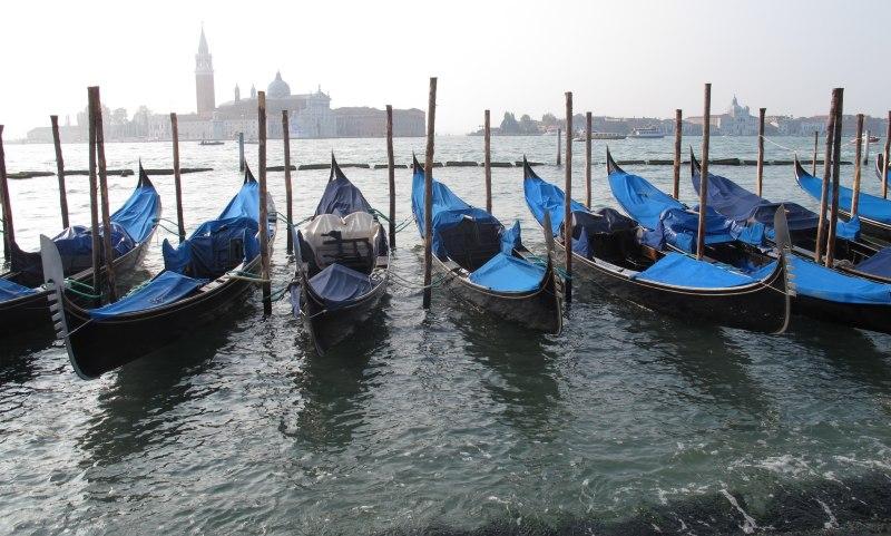 Blue Gondolas in Venetian Water