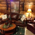 Distressed leather aged wood cozy seating novel accessories wool