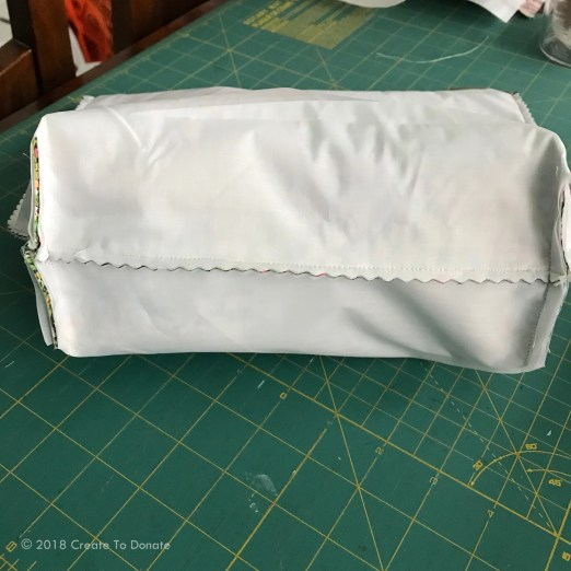Photo of the bottom of a water resistant toiletry bag