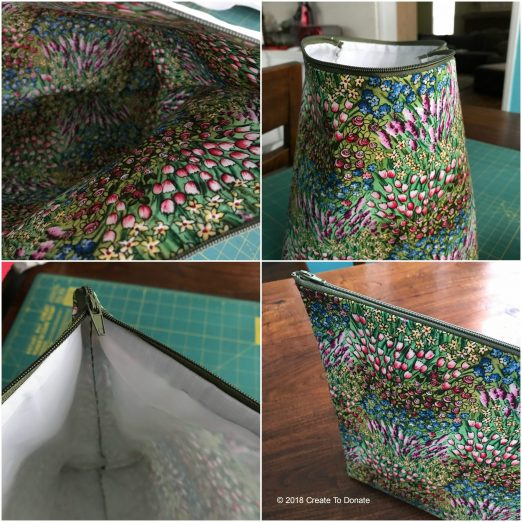 Collage of simple toiletry bag from Create To Donate
