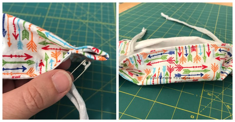 Thread the ties and insert the nose wire into the face mask without pleats.