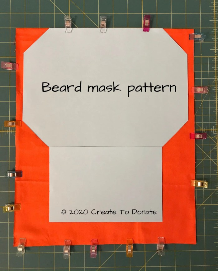Use the beard mask pattern to trace the dimensions onto the fabric.