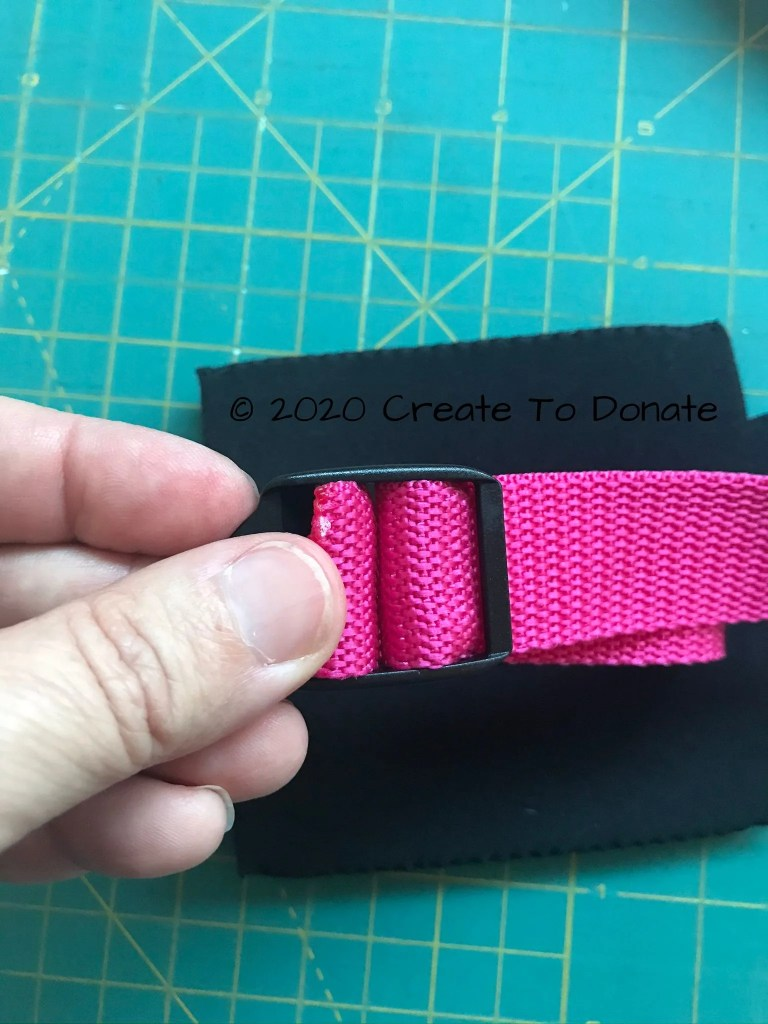 Threaded webbing for adjustable mastectomy drain bag holder