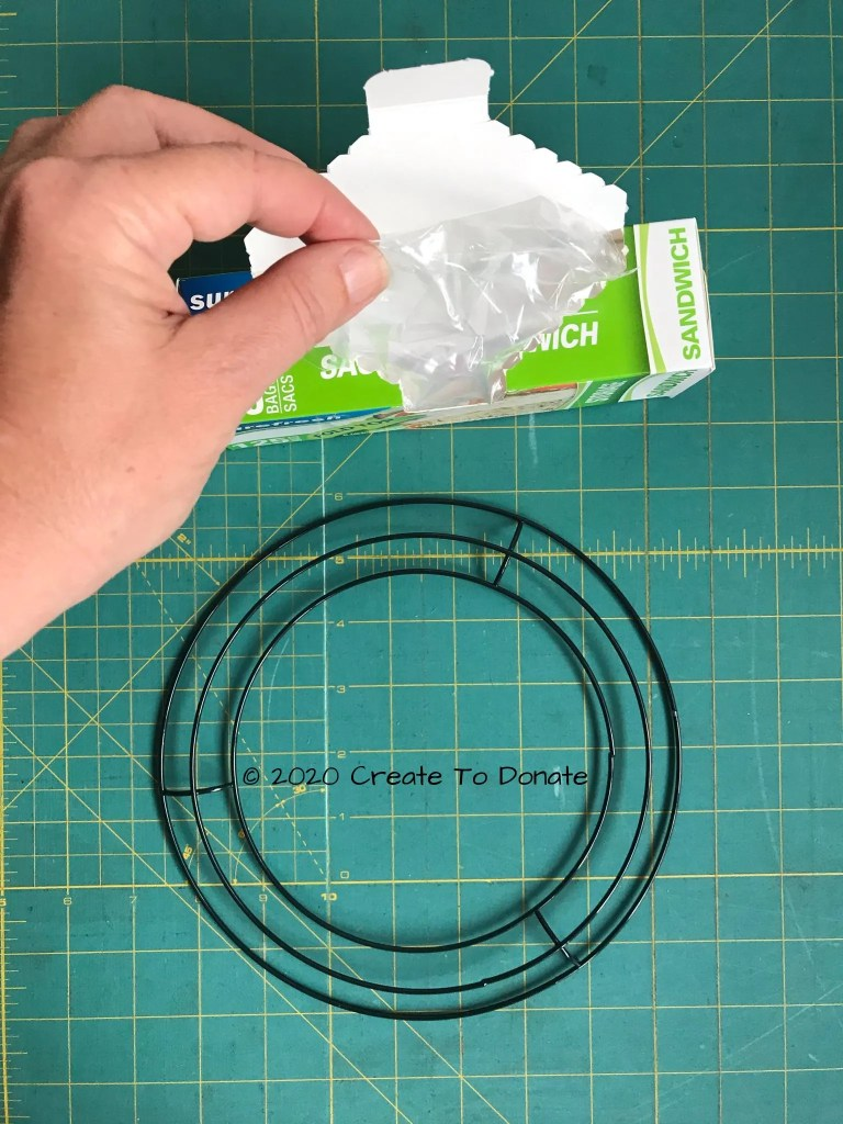Plastic bags for Dollar Tree holiday wreath