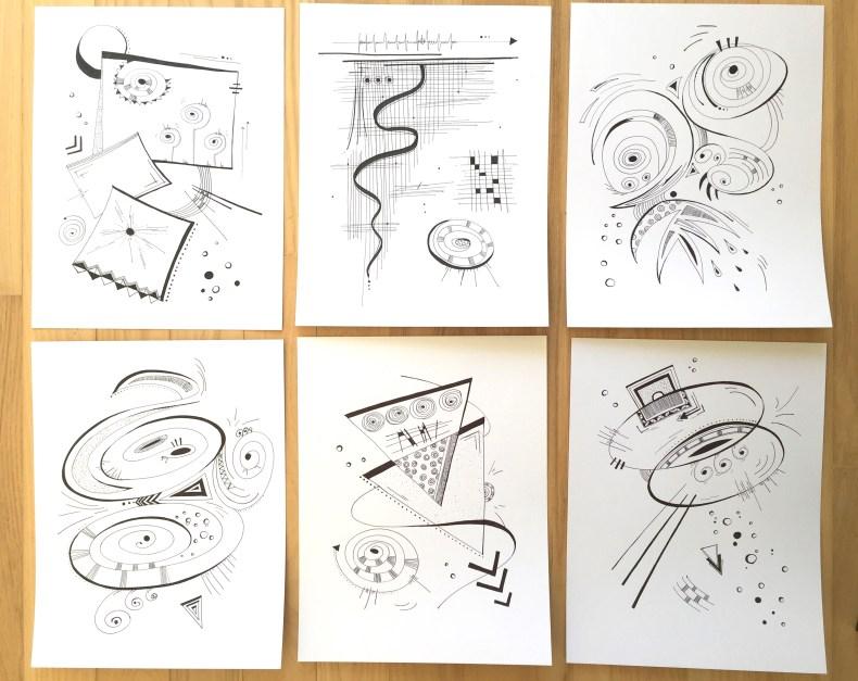 1 feuille, 1 jour - Série 6 dessins - créateur-recherche-paix-interieure