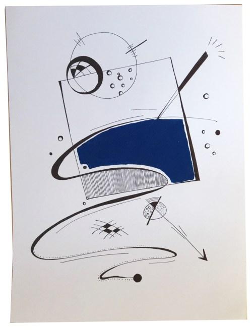 Dessin graphique fait au stylo noir et de la peinture bleue