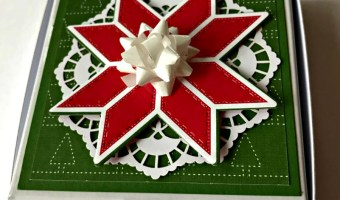 SSINK 3 X 3 Cards in a Quilted Christmas Pizza Box