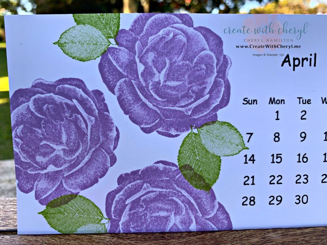 April 2019 Calendar #createwithcheryl #simplestamping #healinghugs #diy
