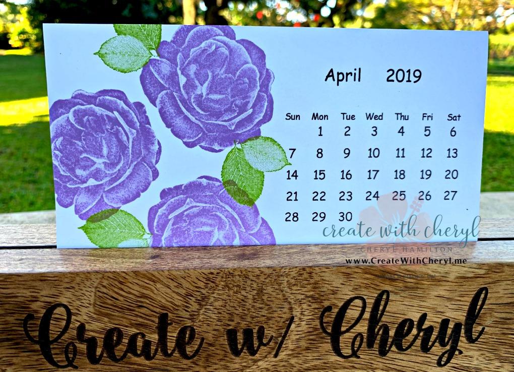 April 2019 Calendar #createwithcheryl #simplestamping