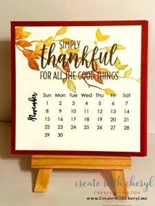 November 2020 Calendar#cherylhamilton #createwithcheryl #stampinup #rubberstamping #diy #crafts #papercrafting #handmadecards #papercrafter #craftblogger #simplestamping #bethankful