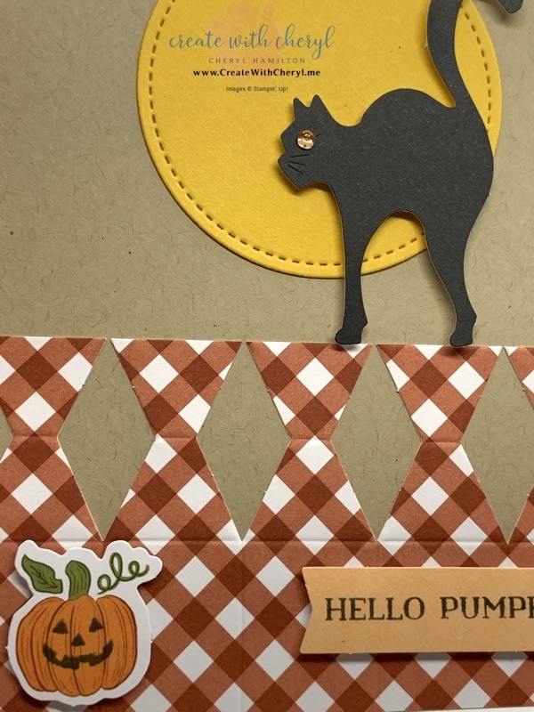 Black Cat Paper Pumpkin Card
