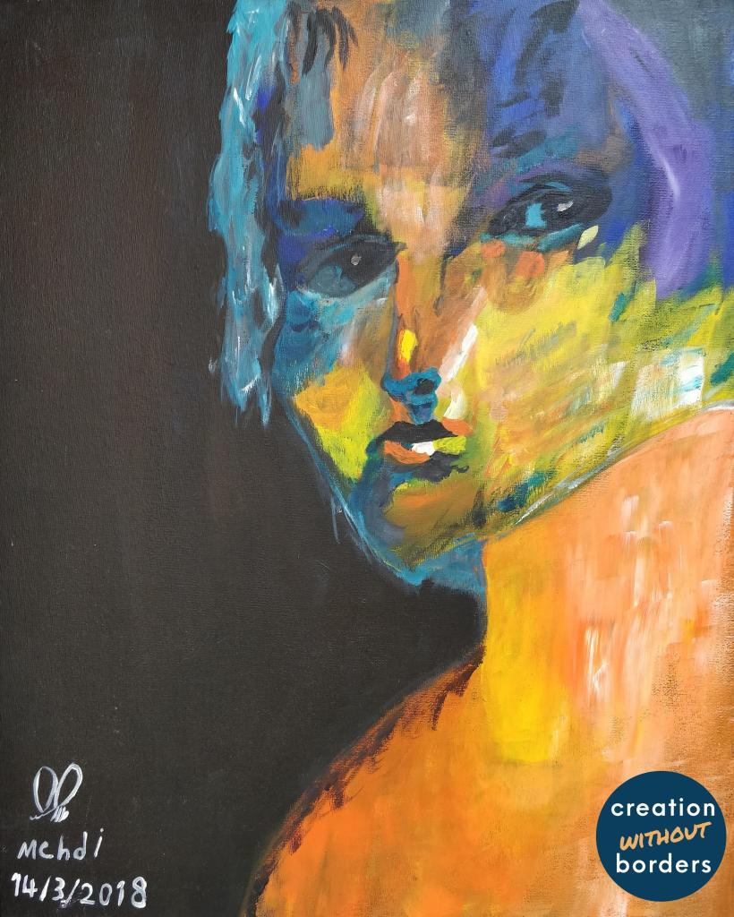 Portrait by Mehdi | Paintings by refugees