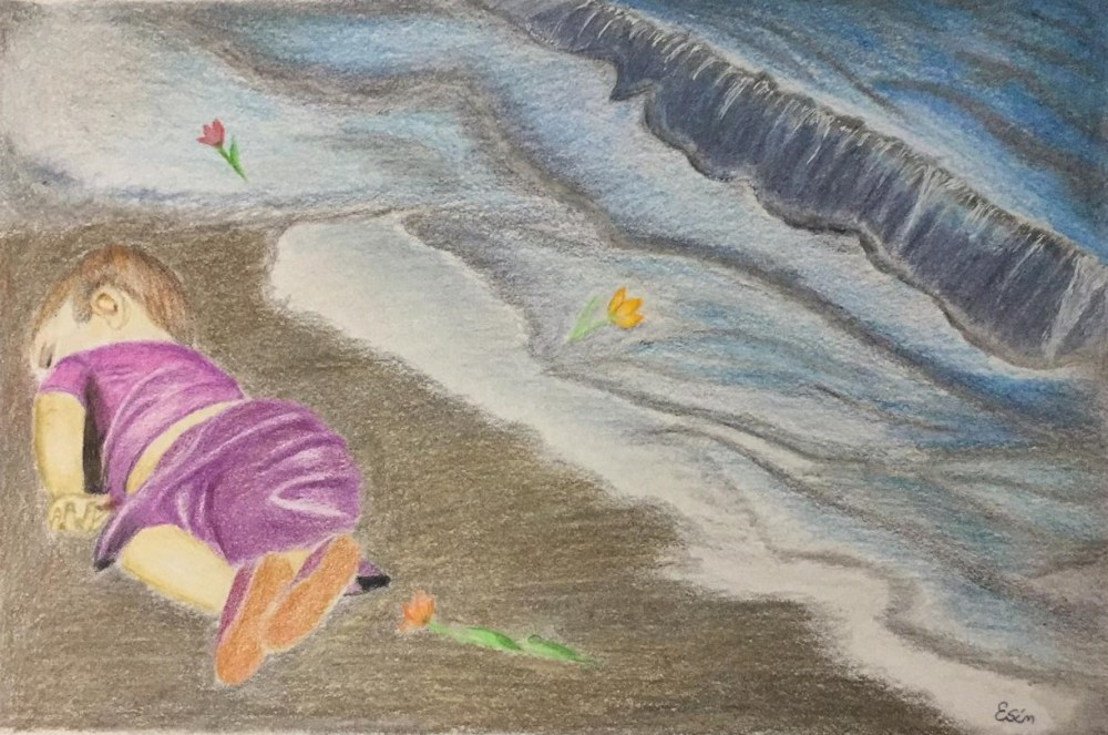 A drawing shows a dead child on a shoreline, surrounded by flowers. The image refers to the famous photo of Aylan Kurdi, which helped galvanise support for people seeking asylum at the peak of the crisis.
