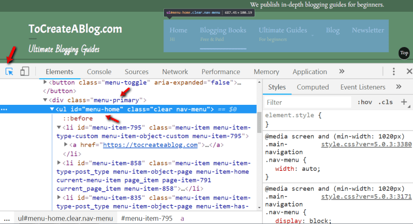 How to find WordPress menu CSS class or ID using chrome developer tools