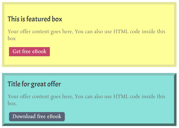 Featured boxed with Shortcode and WordPress custom function