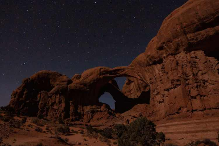 Stars with Double Arch in Arches National Park